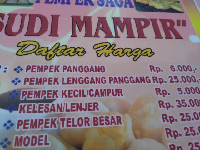 Pempek Lenggang, Pempek Panggang, Pempek Kecil/Campur @ Pempek Saga Sudi Mampir